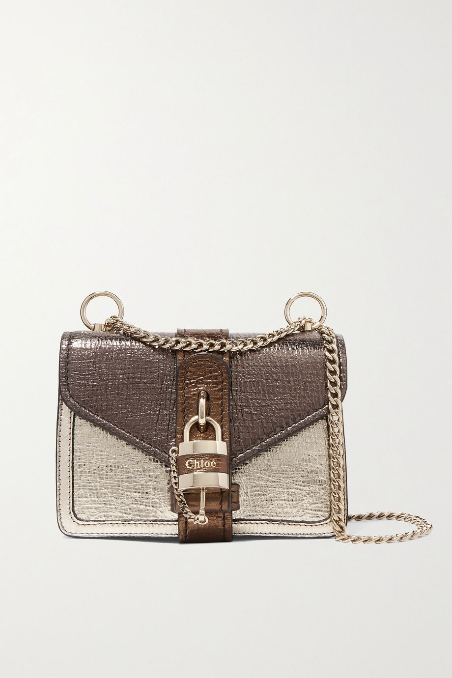 Chloé Aby Chain mini metallic color-block textured-leather shoulder bag