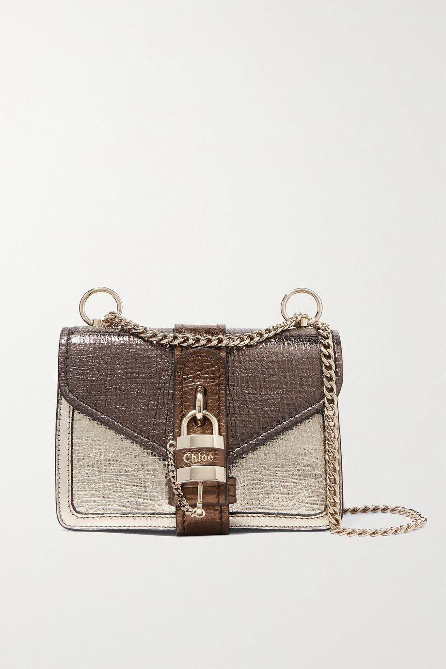 끌로에 애비 체인 숄더백 미니 - 골드 Chloe Aby Chain mini metallic color-block textured-leather shoulder bag,Gold