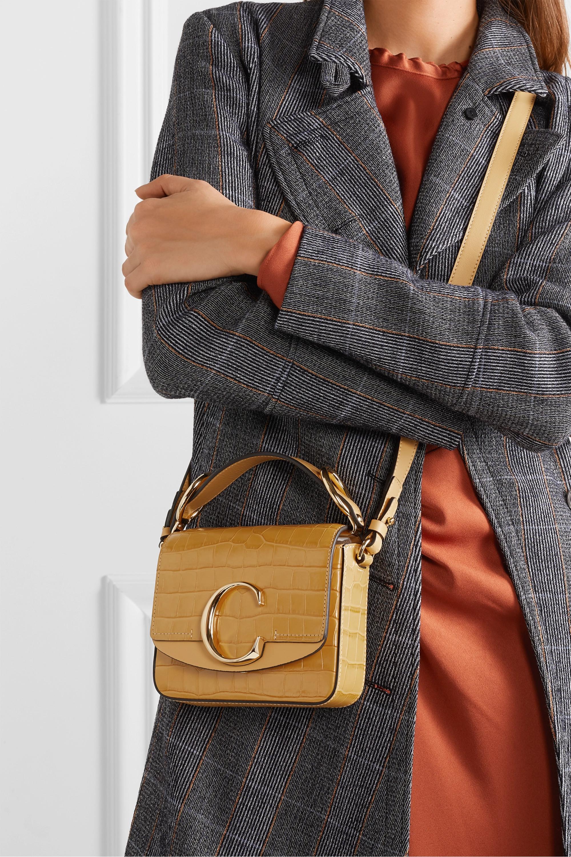 Chloé Chloé C mini smooth and croc-effect leather shoulder bag