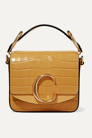 Chloé C mini smooth and croc-effect leather shoulder bag