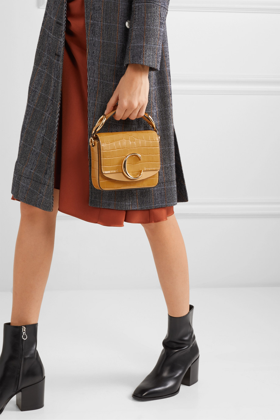 Chloé Chloé C mini smooth and croc-effect leather shoulder bag