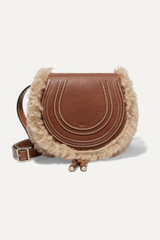 Chloé Marcie mini shearling-trimmed textured-leather shoulder bag