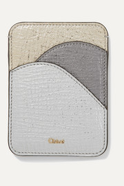 Walden color-block metallic textured-leather cardholder