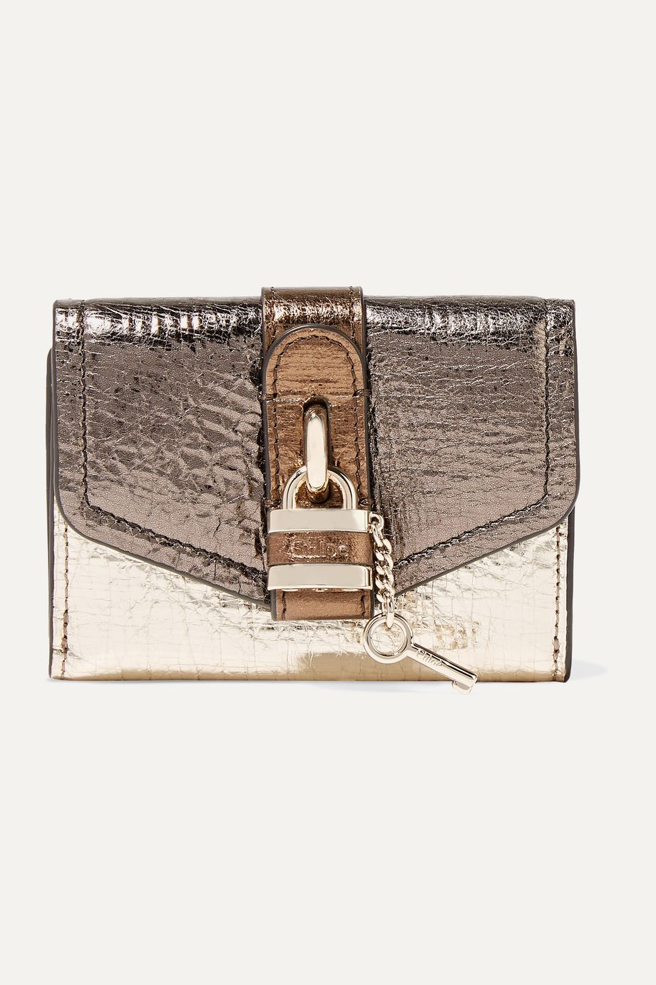Chloé Aby metallic color-block textured-leather wallet