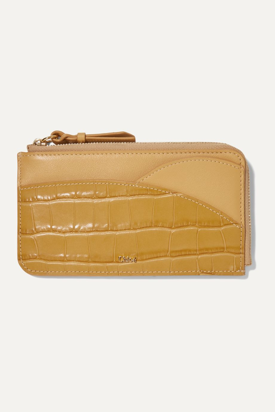 Chloé Walden smooth and glossed croc-effect leather cardholder