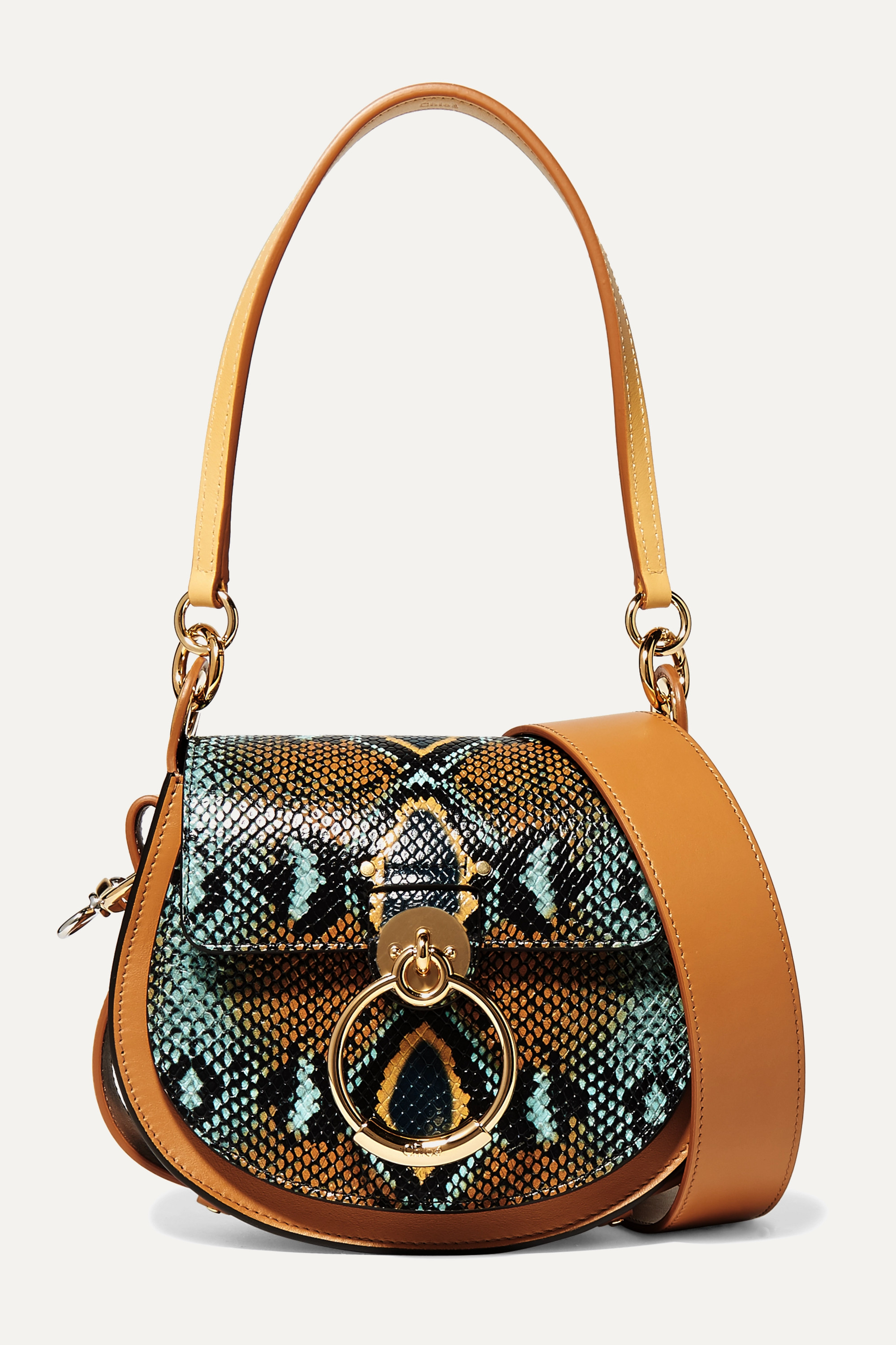 Chloé Tess small snake-effect and smooth leather shoulder bag