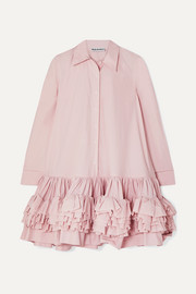 Annie ruffled tiered cotton-poplin mini dress