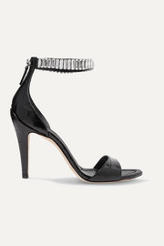 Chloé Crystal-embellished croc-effect leather sandals
