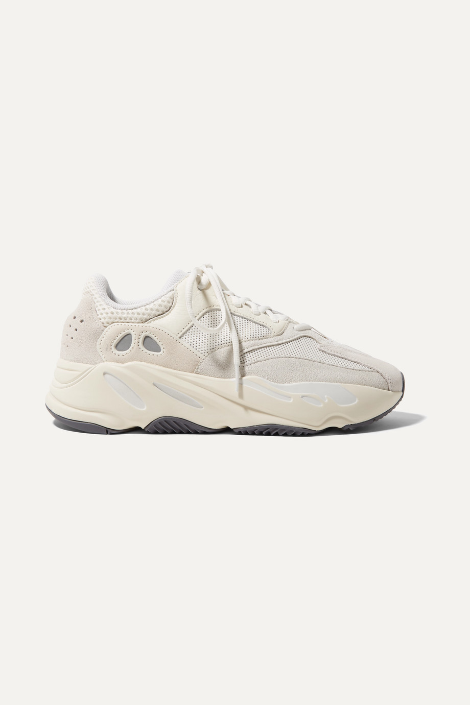 Exact Product: Yeezy Boost 700 suede, leather and mesh sneakers, Brand: Adidas Originals, Available on: net-a-porter.com, Price: $300