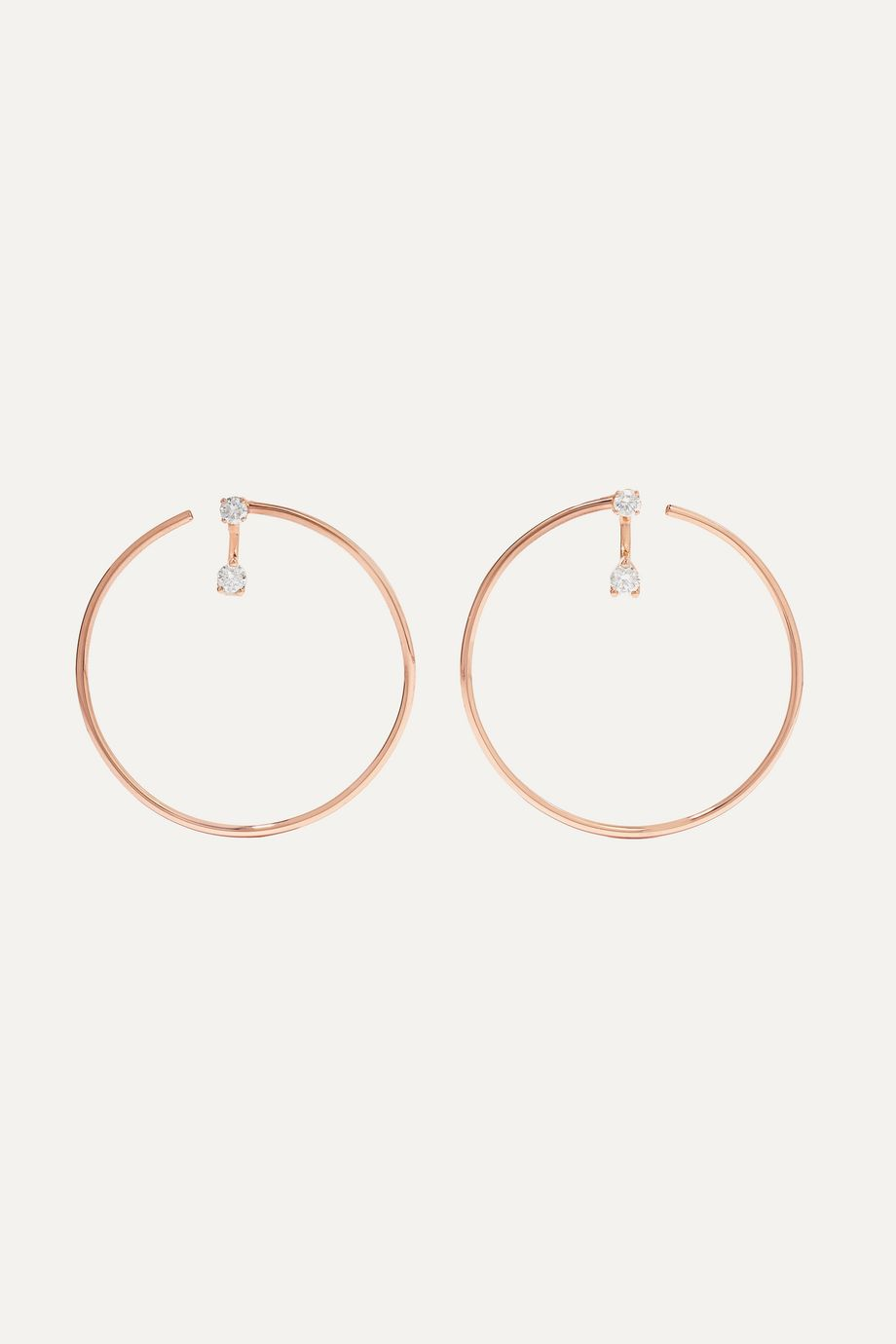 Anita Ko Bardot 18-karat rose gold diamond hoop earrings