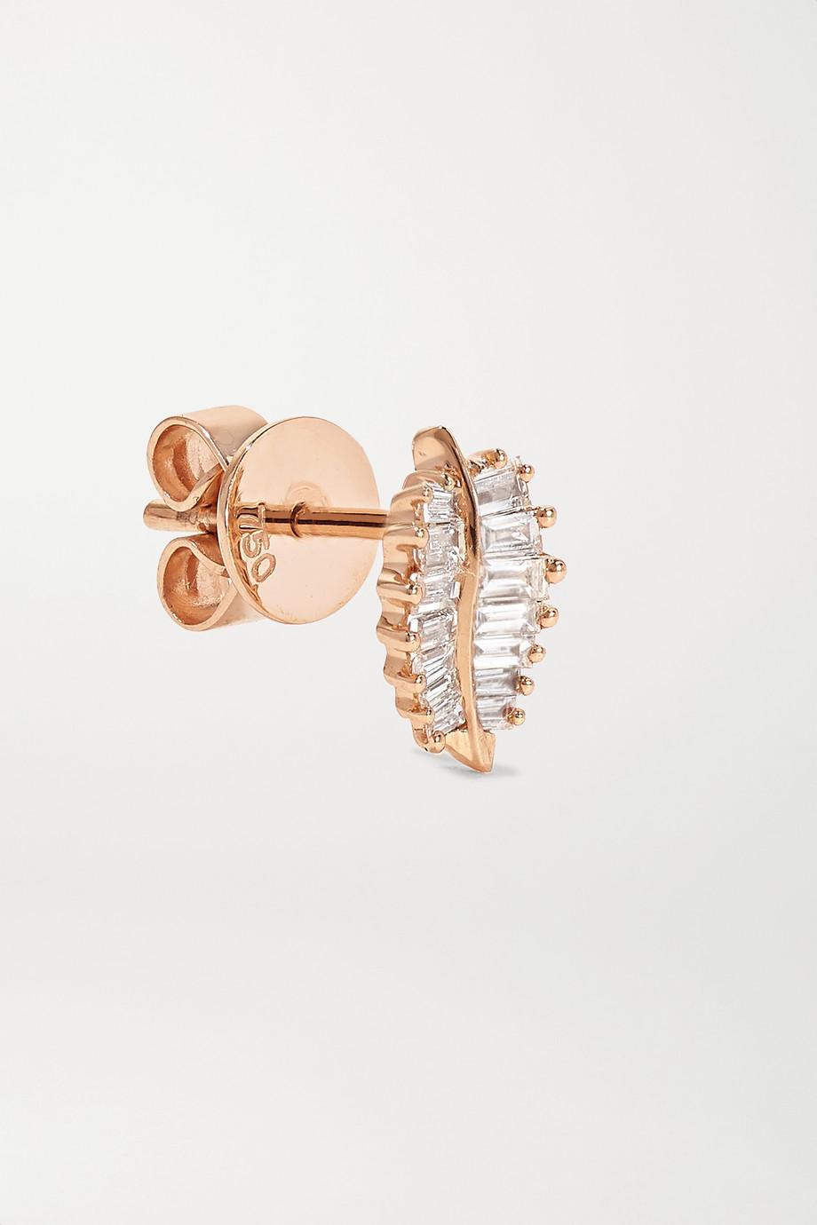 Anita Ko Boucles d'oreilles en or rose 18 carats et diamants Palm Leaf Small