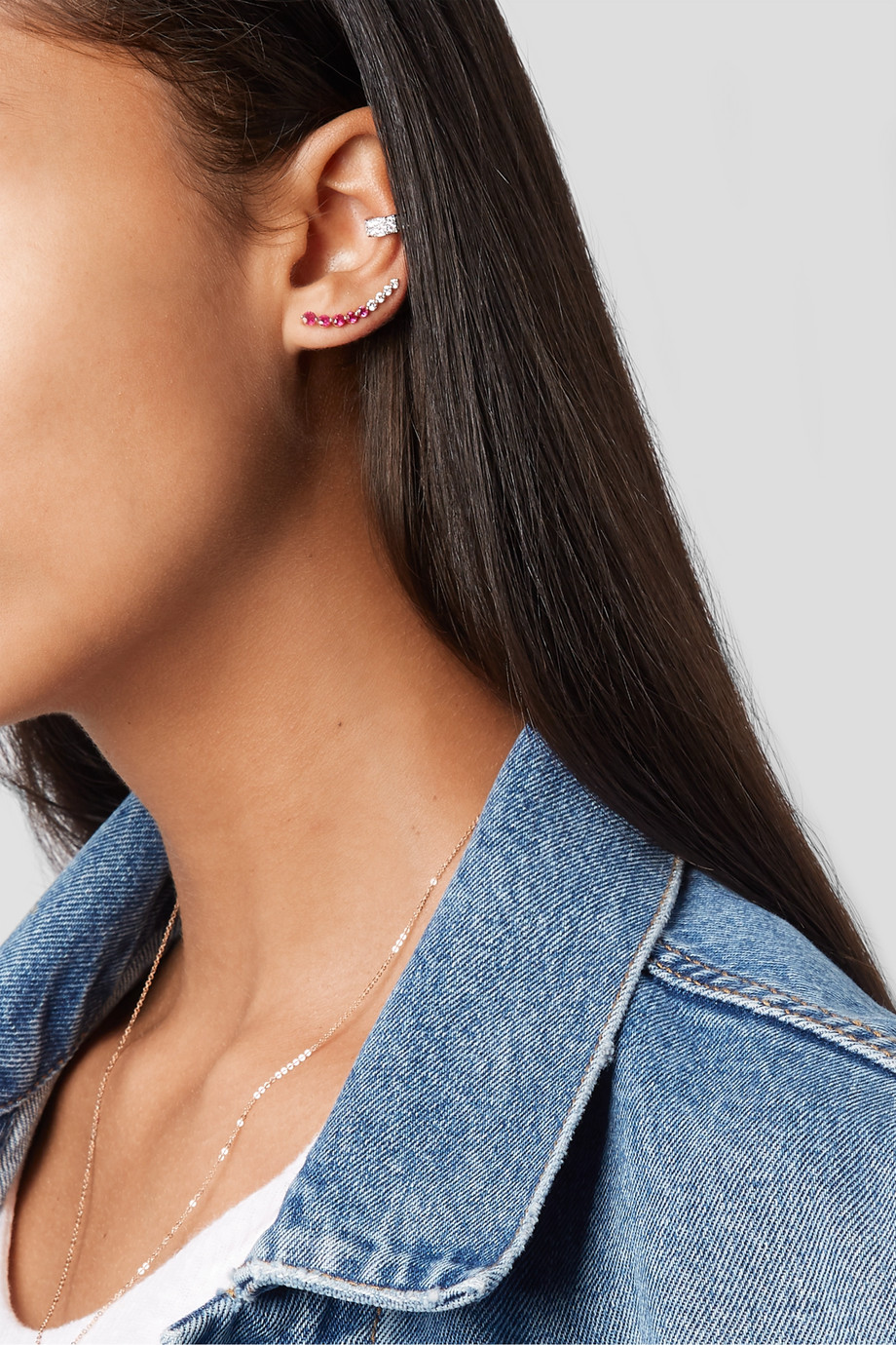 Anita Ko 18-karat rose gold, diamond and ruby earring