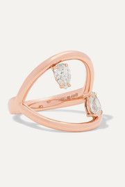 Bague en or rose 18 carats et diamants Arc