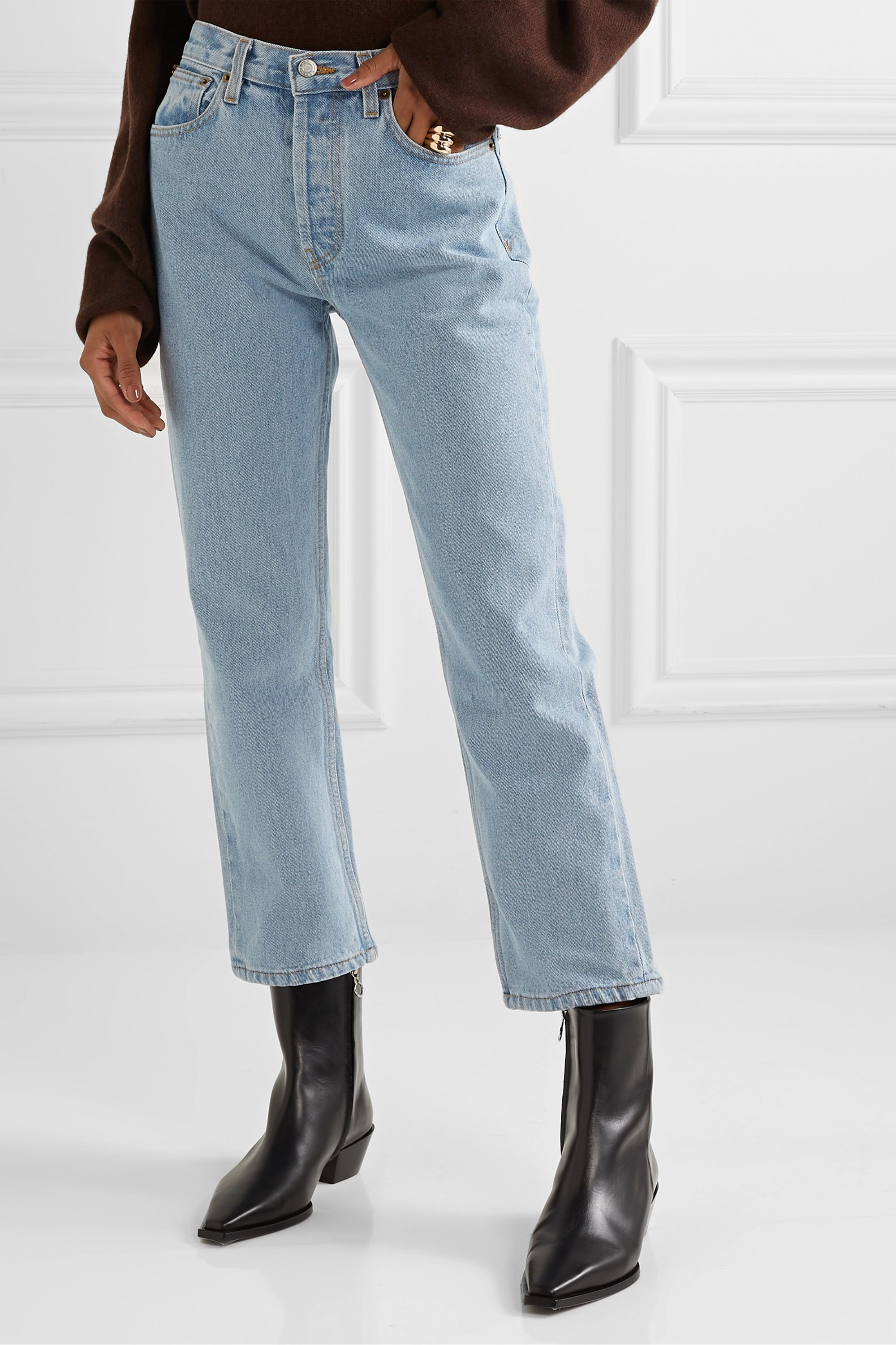 Still Here Tate cropped striped high-rise straight-leg jeans