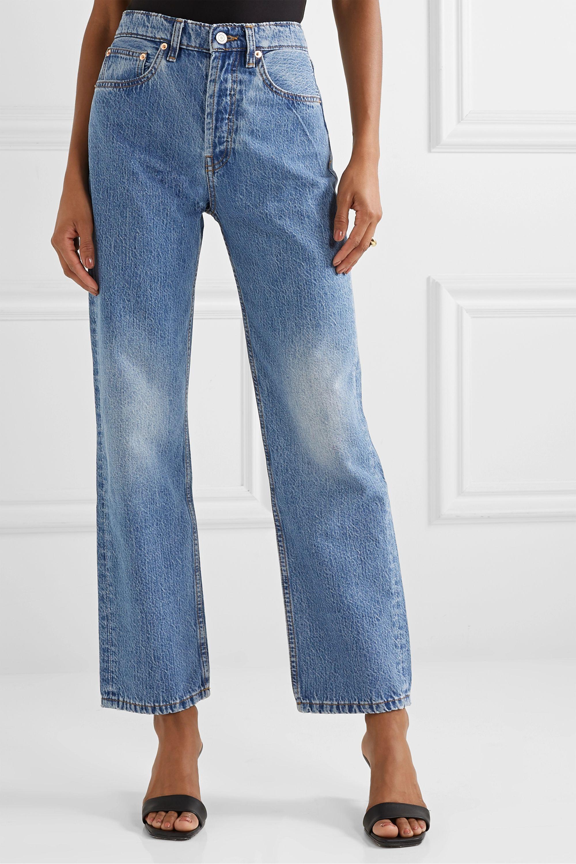 Still Here Childhood striped high-rise straight-leg jeans
