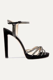 Jimmy Choo Lilah 120 crystal-embellished suede sandals