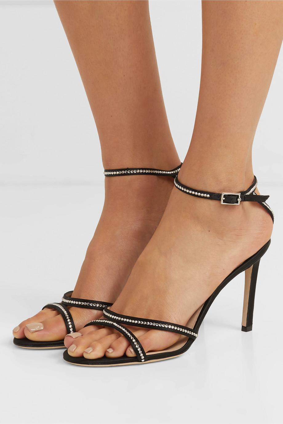 Jimmy Choo Lydia 85 crystal-embellished satin sandals