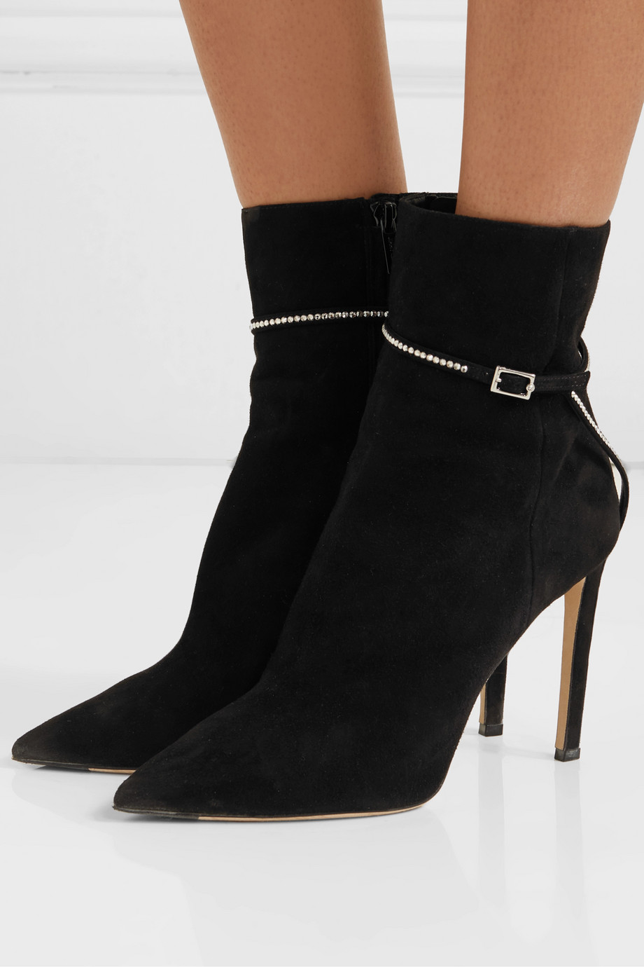 Jimmy Choo Leille 100 crystal-embellished suede ankle boots