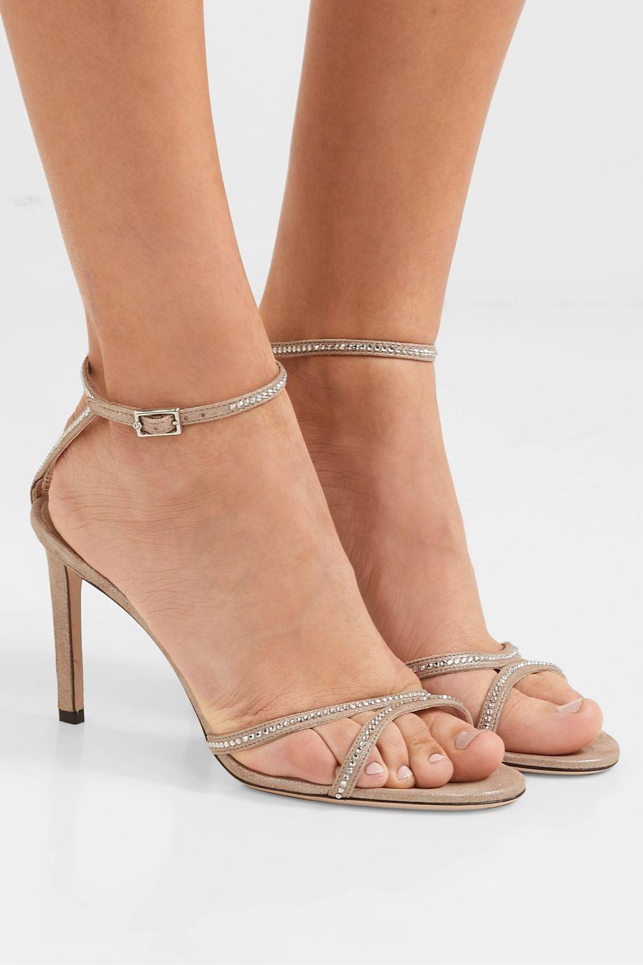 Jimmy Choo Lydia 85 crystal-embellished metallic suede sandals