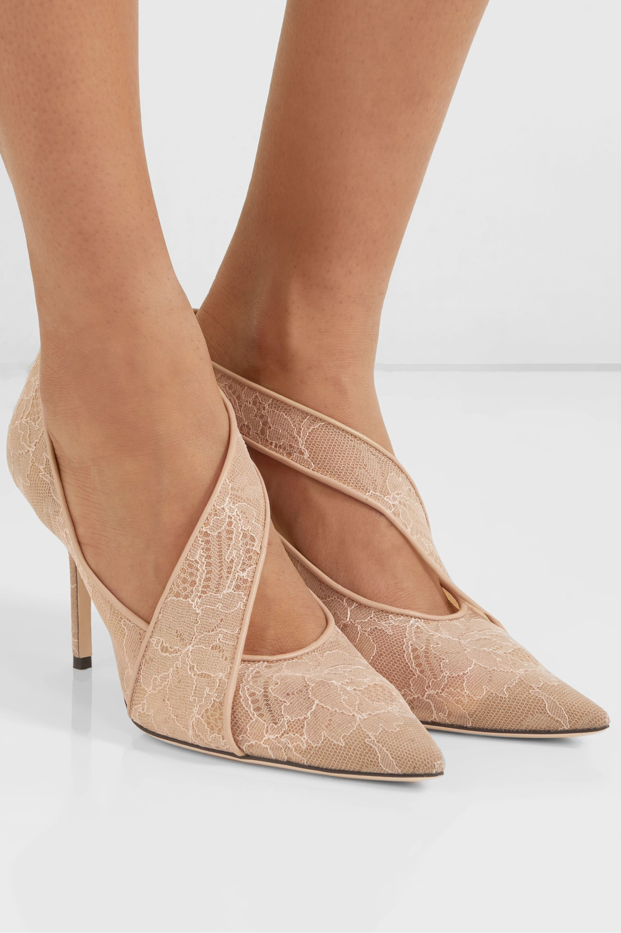 Jimmy Choo Haylene 85 leather-trimmed corded lace pumps