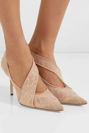 Haylene 85 leather-trimmed corded lace pumps