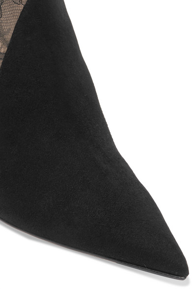Jimmy Choo Boots 85 corded lace-paneled suede ankle boots