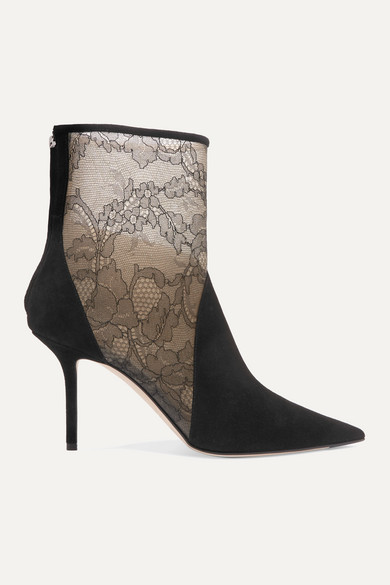 Jimmy Choo High-heels 85 corded lace-paneled suede ankle boots
