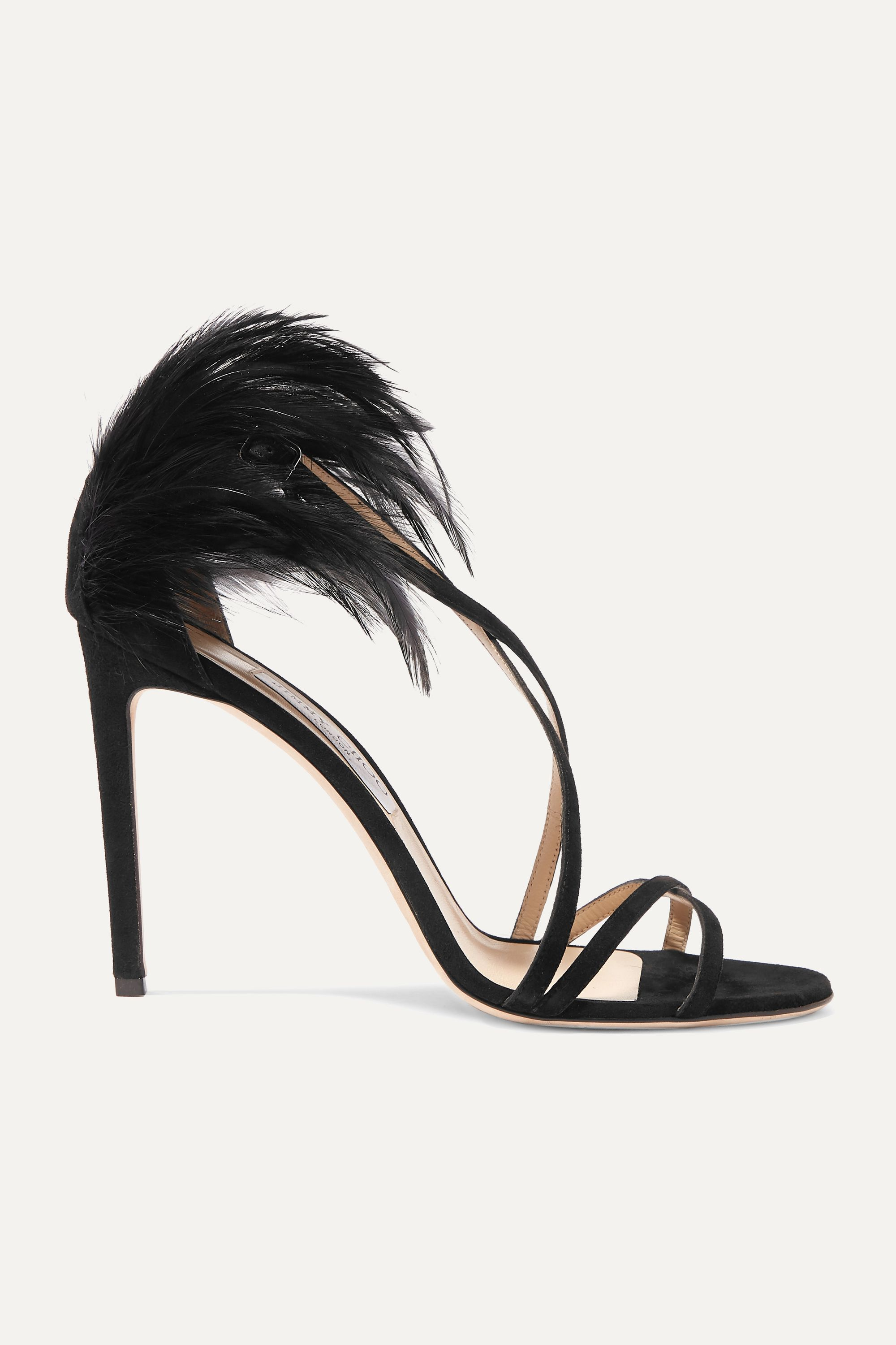 Jimmy Choo Belissa 100 feather-trimmed suede sandals