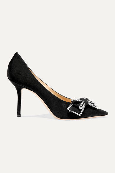 Jimmy Choo Pumps Saphia 85 crystal-embellished bow-detailed grosgrain pumps
