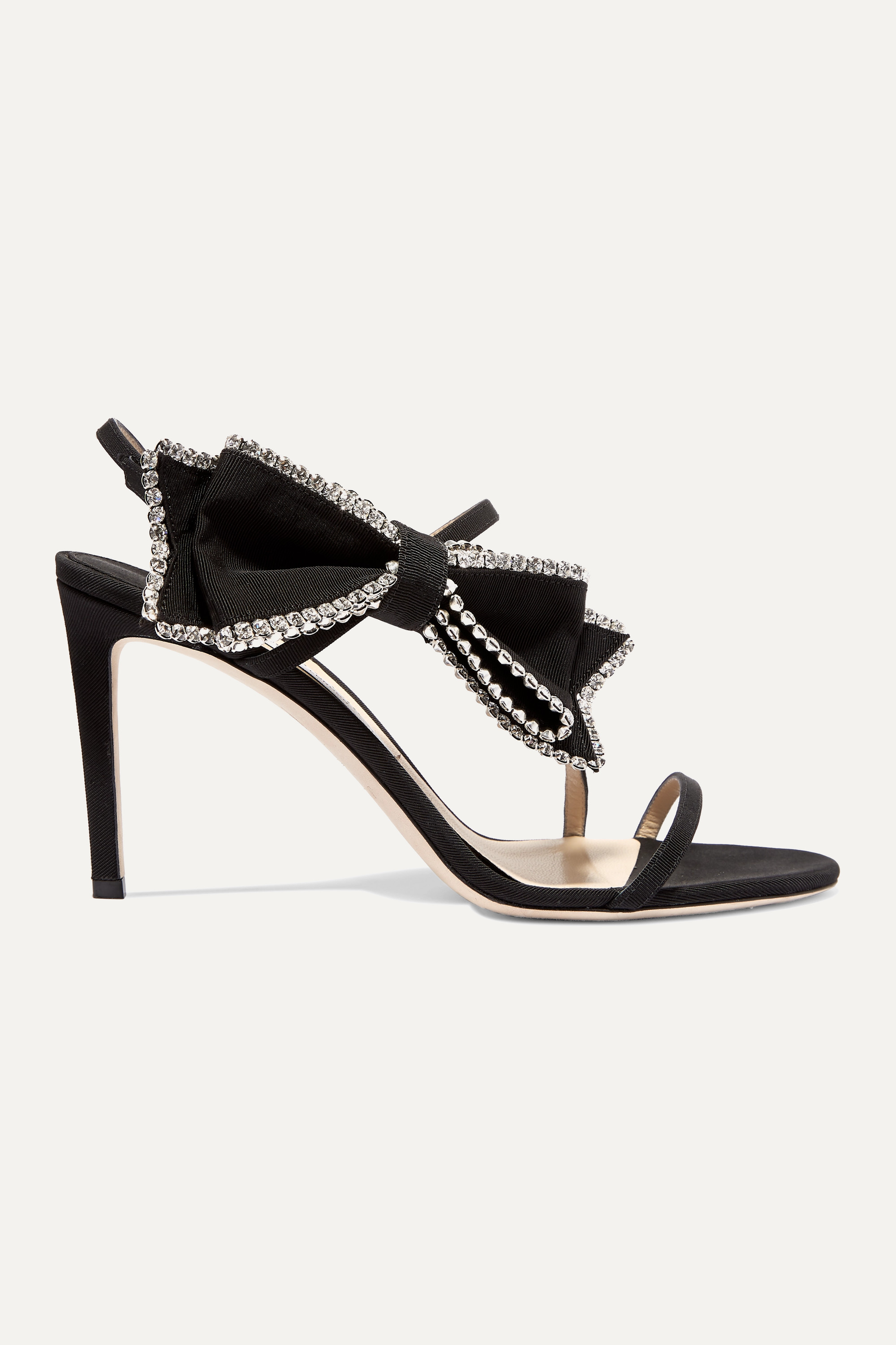 Jimmy Choo Sarara 85 crystal-embellished grosgrain and suede sandals