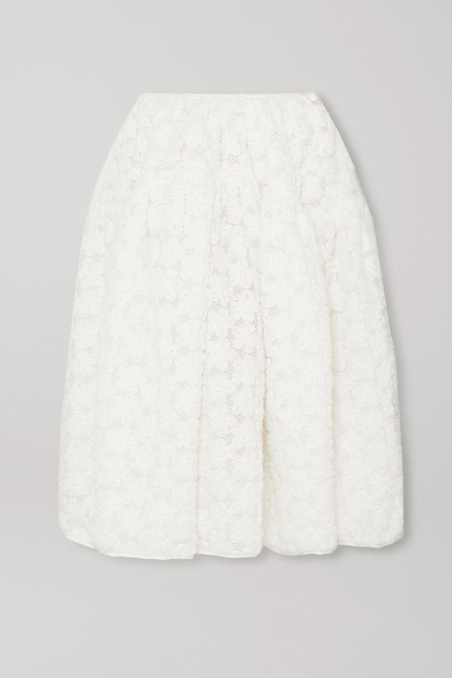 Cecilie Bahnsen + Sophie Bille Brahe Tina appliquéd mesh midi skirt