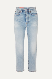 Cropped high-rise straight-leg jeans