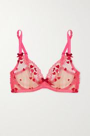 Cupid embroidered tulle underwired bra