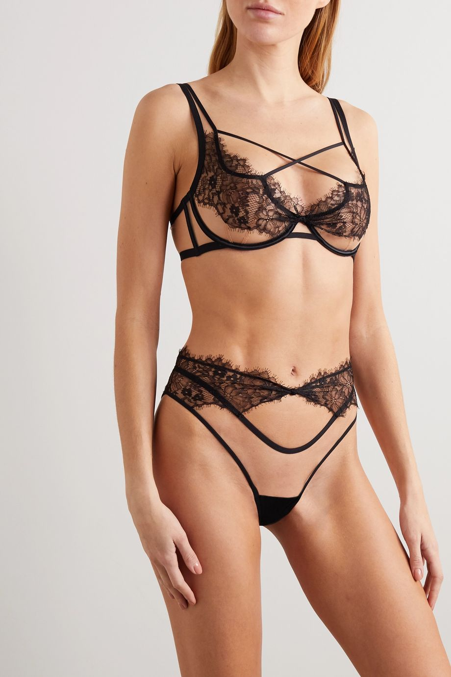 Agent Provocateur Palma cutout stretch-tulle and lace briefs