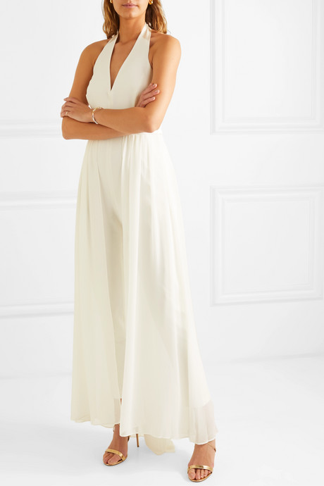 Layered satin-trimmed crepe and chiffon halterneck jumpsuit