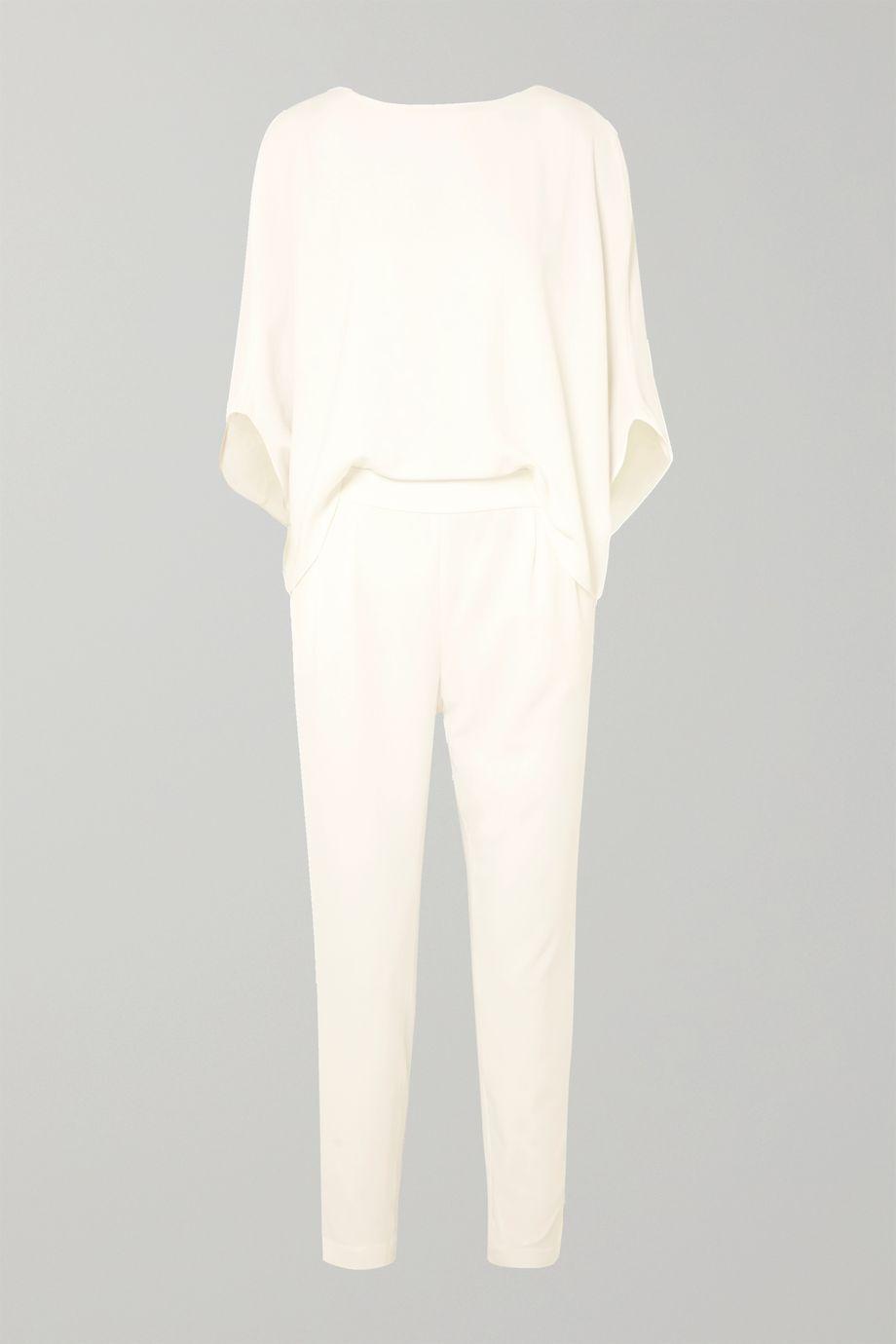 Halston Draped crepe de chine jumpsuit