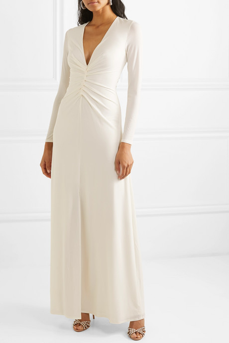Ruched stretch-jersey gown