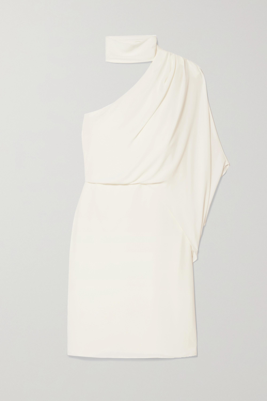 Halston One-shoulder crepe dress