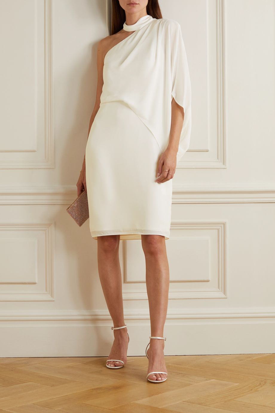 Halston One-shoulder crepe dress