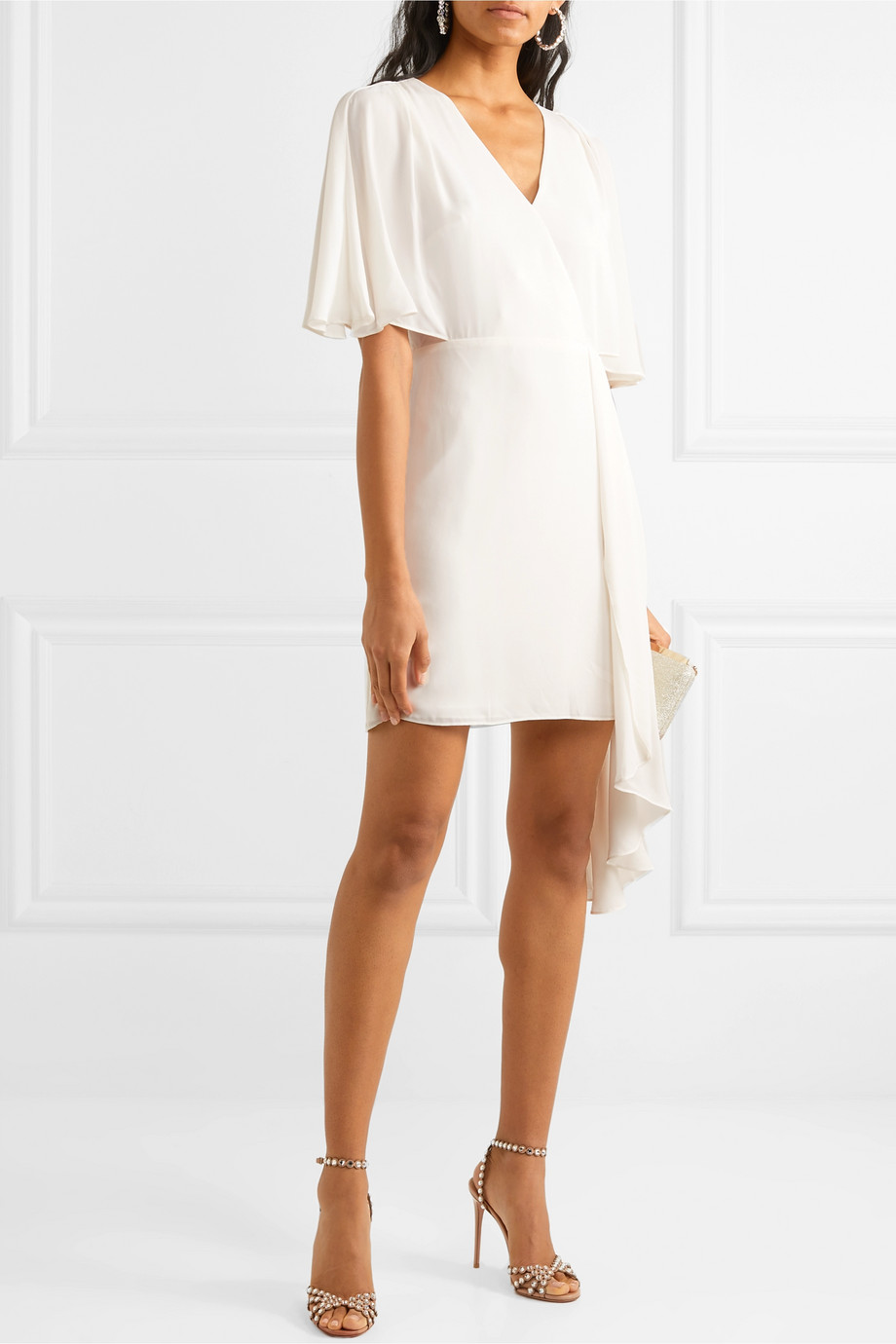 Halston Cutout draped chiffon mini dress