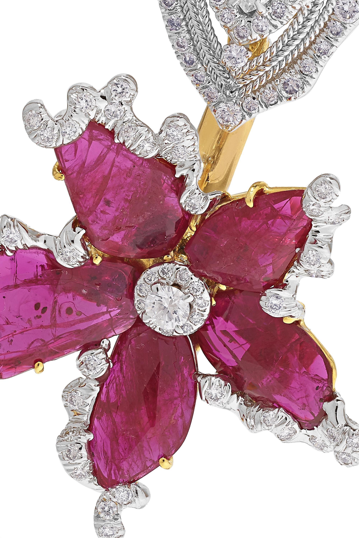 Bina Goenka 18-karat gold, ruby and diamond earrings
