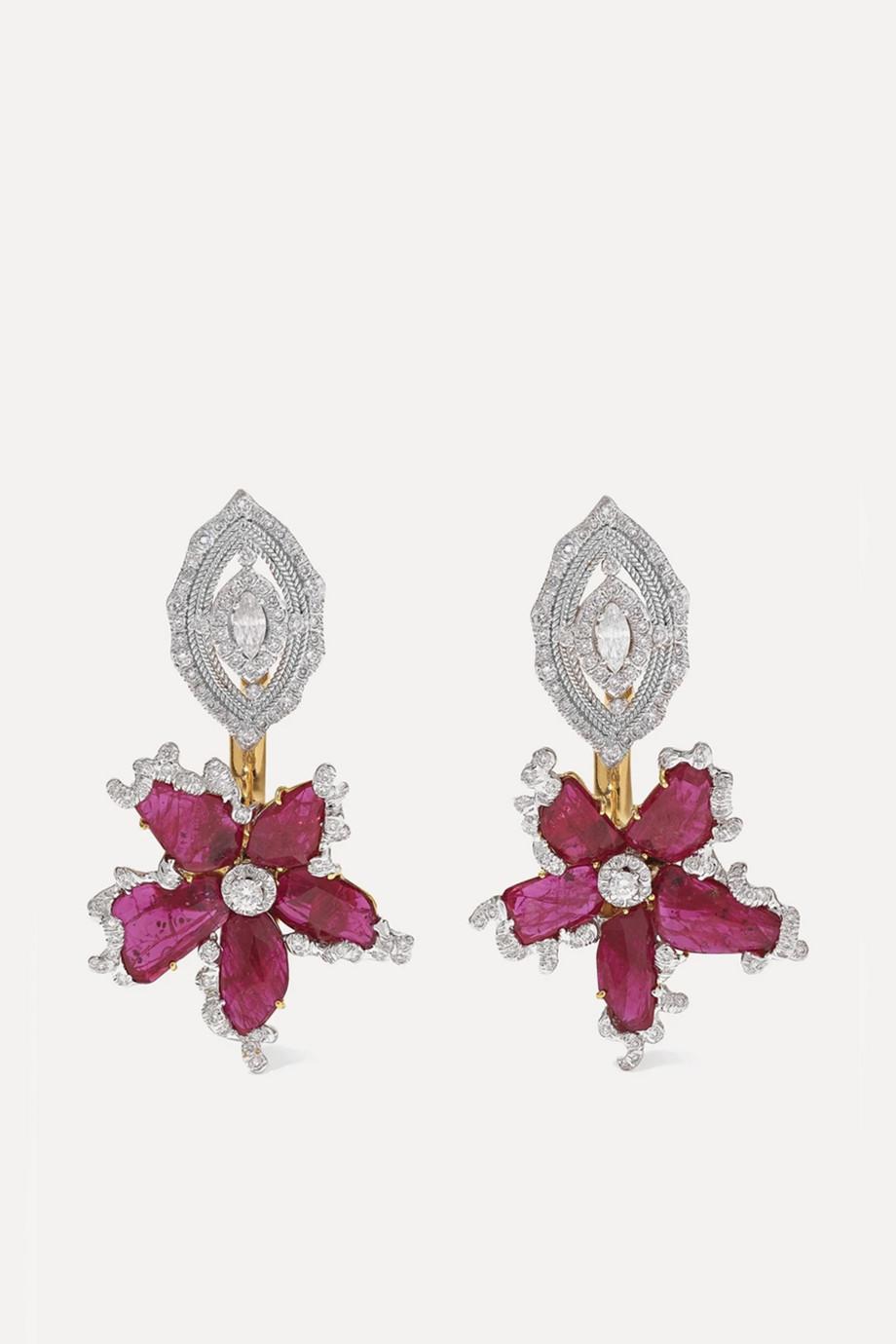 Bina Goenka Ohrringe aus 18 Karat Gold mit Rubinen und Diamanten