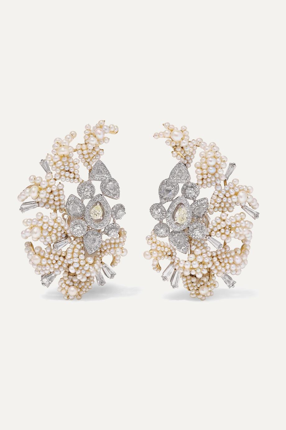 Bina Goenka Ohrringe aus 18 Karat Gold mit Perlen und Diamanten