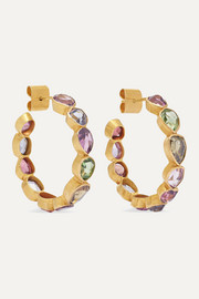18-karat gold spinel hoop earrings