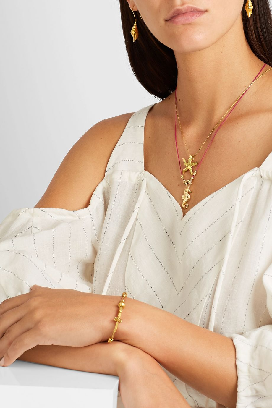 Pippa Small + NET SUSTAIN 18-karat gold and cord necklace