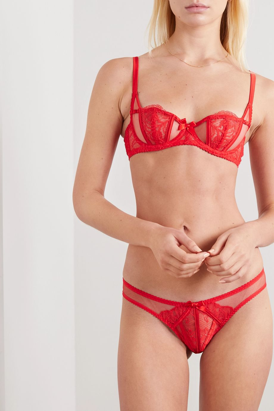 Agent Provocateur Rozlyn satin-trimmed Leavers lace and stretch-tulle briefs