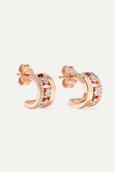 Move Romane 18 Karat Rose Gold Diamond Hoop Earrings by Messika