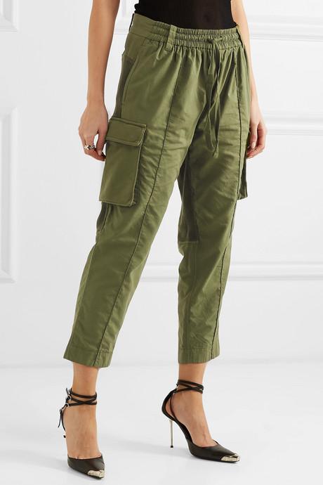 Cropped paneled cotton cargo pants