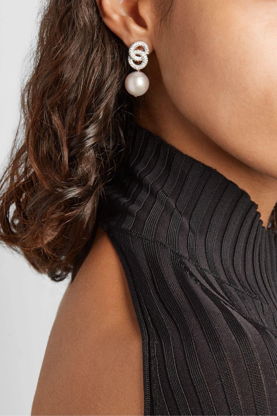 Bina Goenka 18-karat gold diamond and pearl earrings