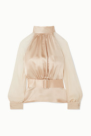 Open-back silk-satin and silk-chiffon blouse
